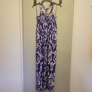 Pink Rose Blue and White Patterned Maxi Dress